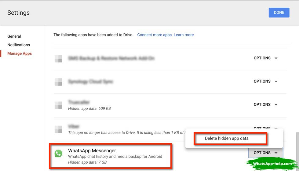 удалить резервную копию whatsapp с google диск