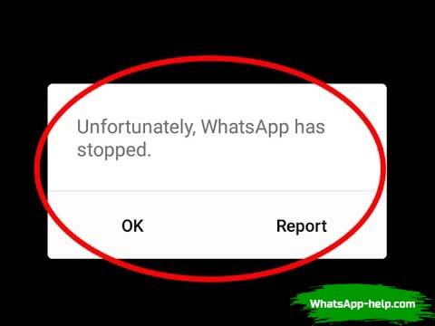 приложение вацап остановлено что делать